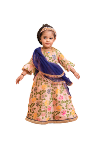 Peach brocade indian ghagra and blouse with dupatta