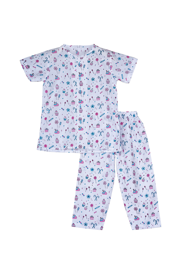 Candies and sweets printed half sleeves nightsuit set