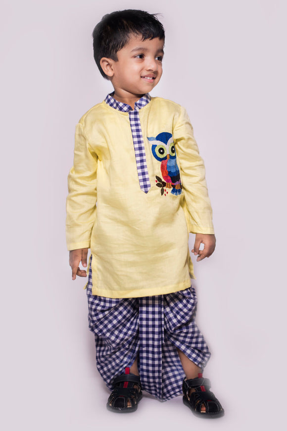Embroidered Owl Kurta With Checks Dhoti
