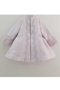 Pink embroidered jacquard fur jacket with a frock