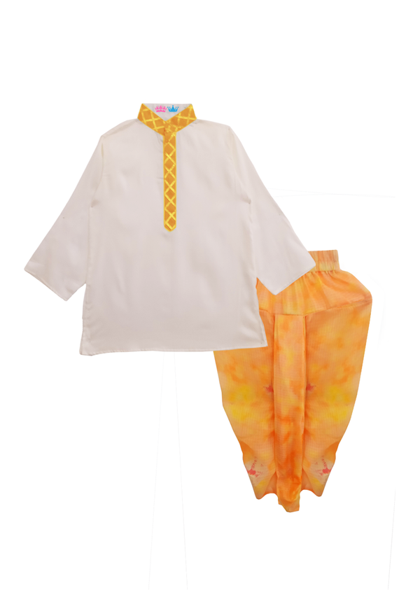 White kurta with peach shaded tie and dye dhoti