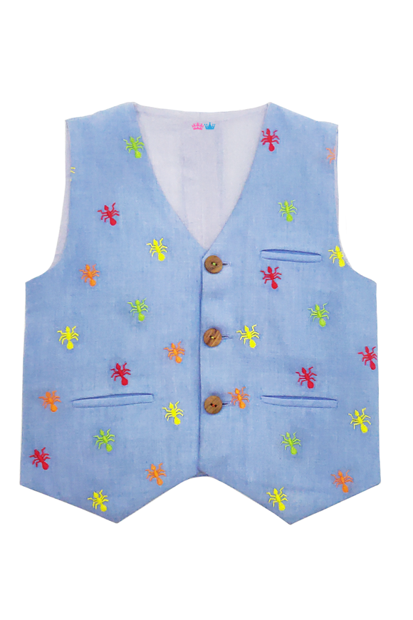 Ant embroidered waistcoat