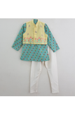 Aqua green printed kurta with yellow embroidered jacket and churidar