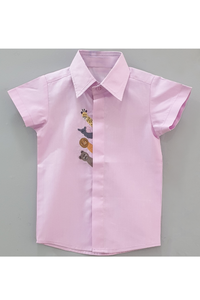 Animal embroidred lavender short sleeves shirt