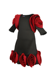Maroon and black rose flower one piece