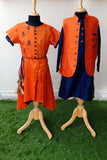 Mom and daughter orange/blue raw silk embroidered Dress