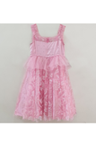 Baby pink self glitter net dress