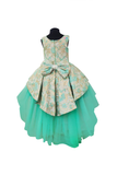 Brocade mint green high low peplum dress