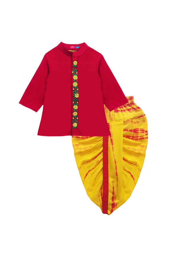 Red floral embroidered kurta with yellow dhoti