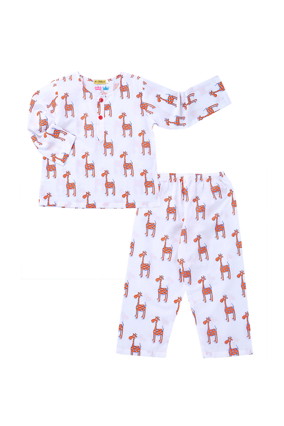 Handprinted Nightsuit in Giraffe print