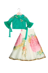 Arctic bloom green and white lehenga