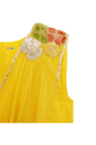 Yellow choli with stitched dupatta and grey embroidered lehenga