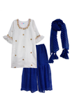 White and blue sharara suit