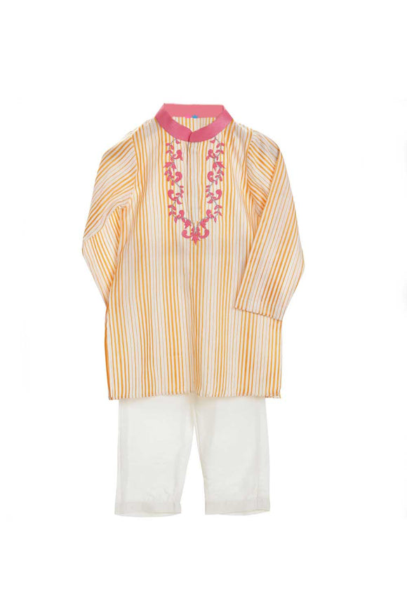 Organic orange fuchsia embroidered yoke kurta and white pajama