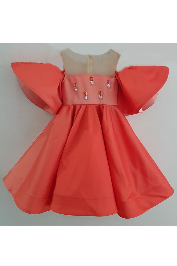 Peach taffeta and real swarovski crystal dress
