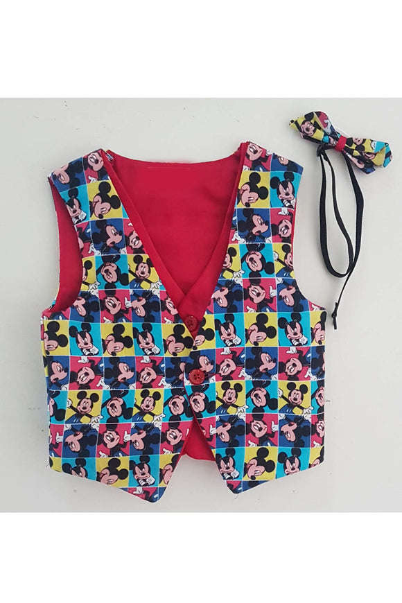 Multicolor mickey mouse print toddler waistcoat