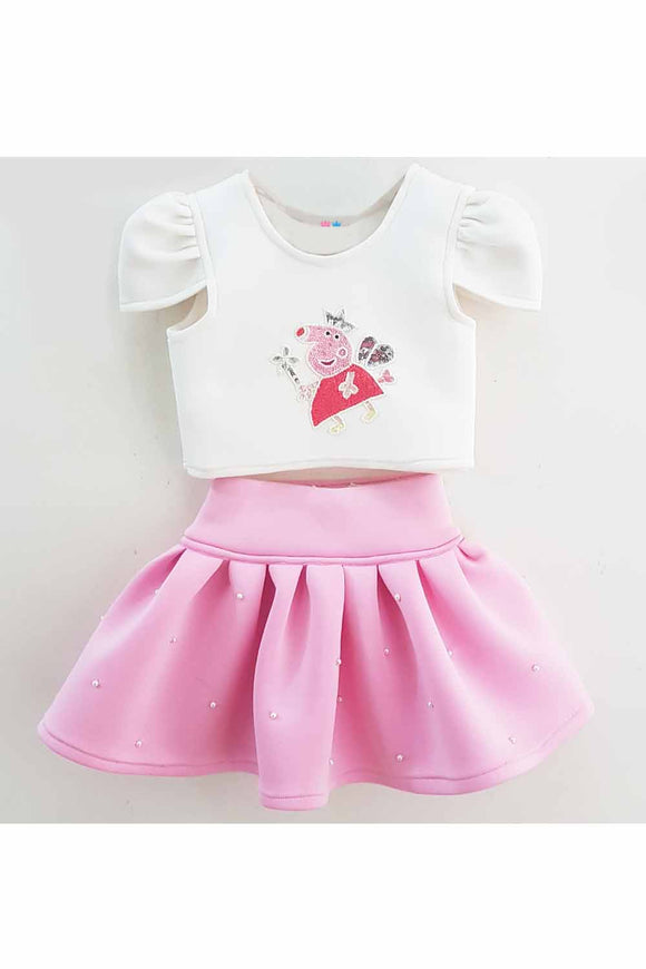 White peppa pig embroidered top and pink short skirt