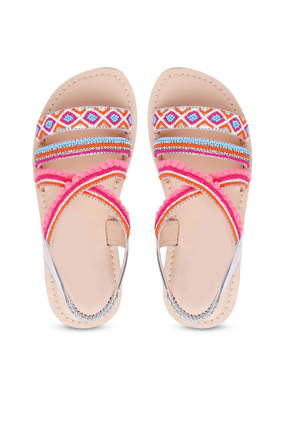 Root sliver and pink multi sandals! Footwear for girls, Flip flop for girls, designer sandals for girls, belly shoes for girls, designer kolhapuri flats