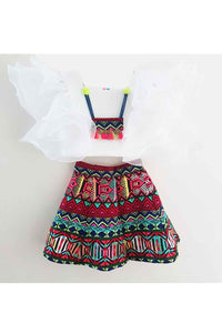 Multi color boho jacquard skirt with white top set! Designer Dresses for Girls, Designer Dresses for Baby Girls, Designer Partywear Dresses for Girls, Party Dresses for Girls, Smart Partywear Dresses for Girls, Designer Party Dresses for Girls