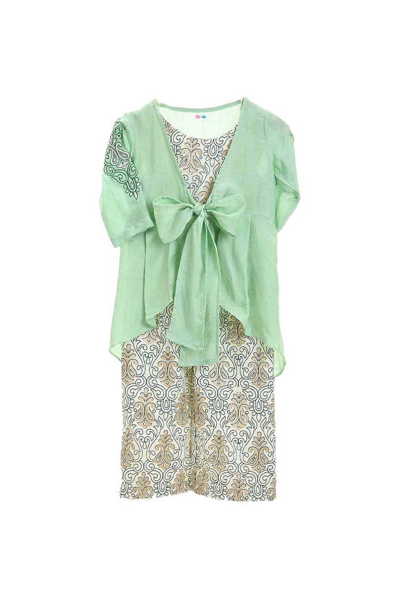 Organic mint green jacket and floral printed jumpsuit