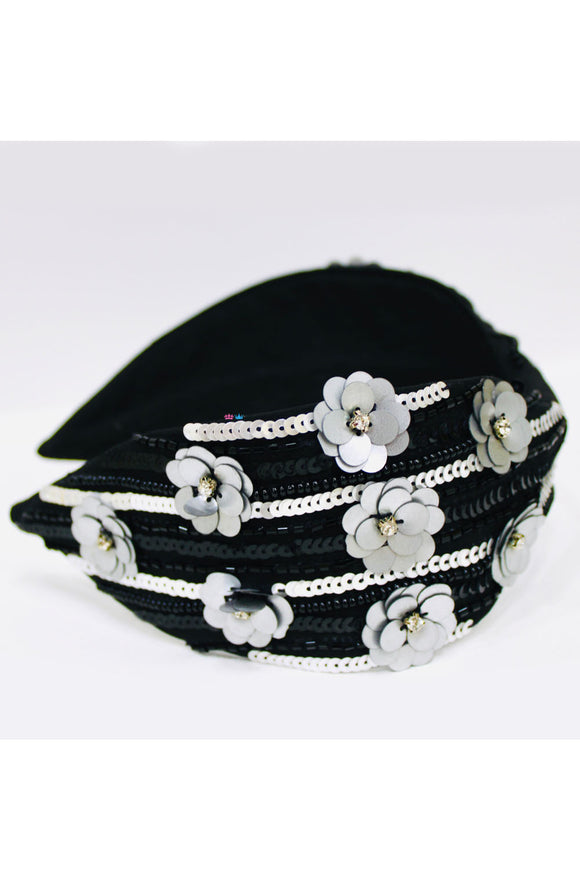 Black and grey sequins flower hairband