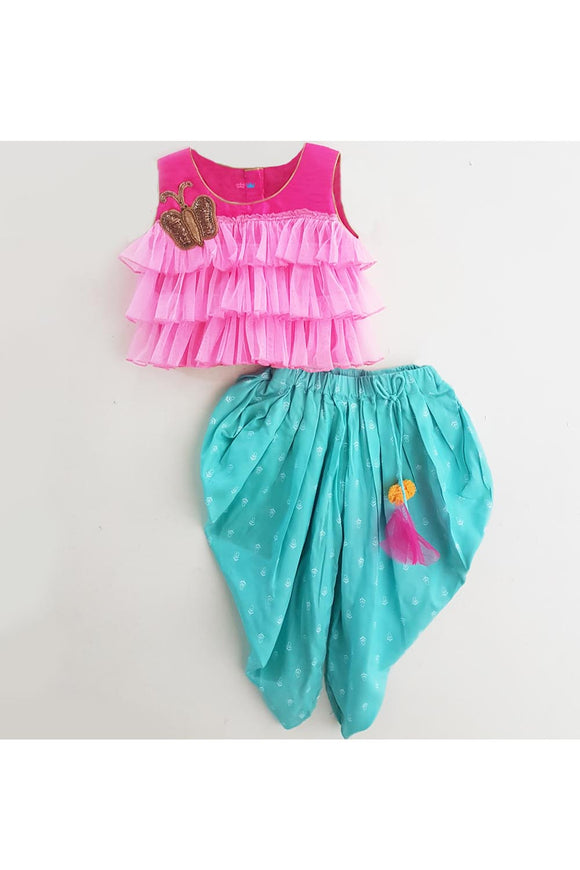 Pink handwork butterfly top and turquoise dhoti