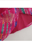 Hot pink asymmetric printed choli and lehenga set