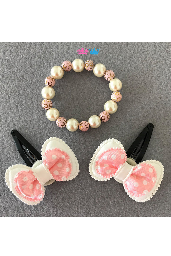 Bow theme hair clips and bracelet