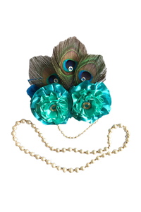 Handmade Flowers and Peacock  Feather Mukut with Mala