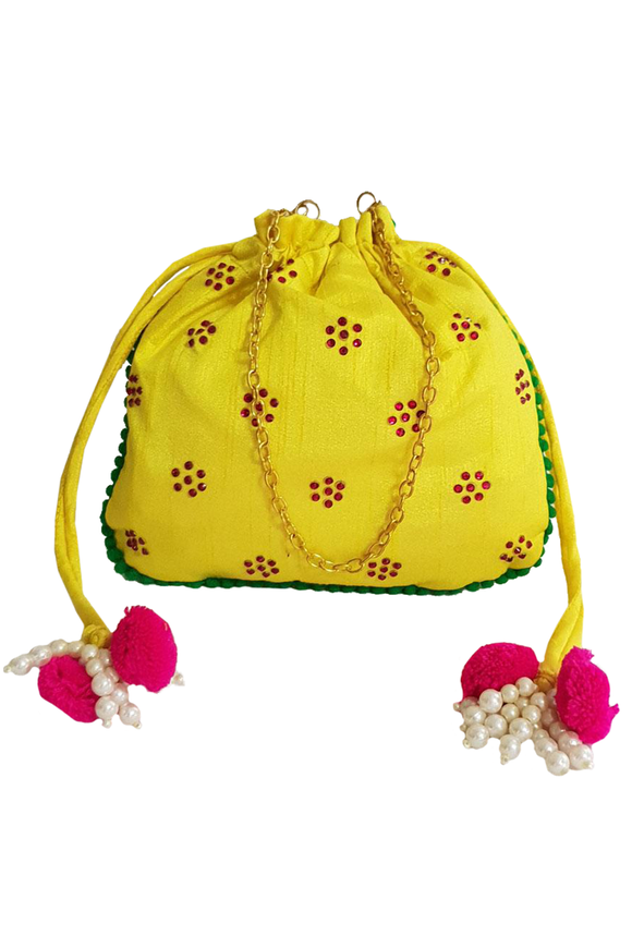 Yellow Raw Silk Potli