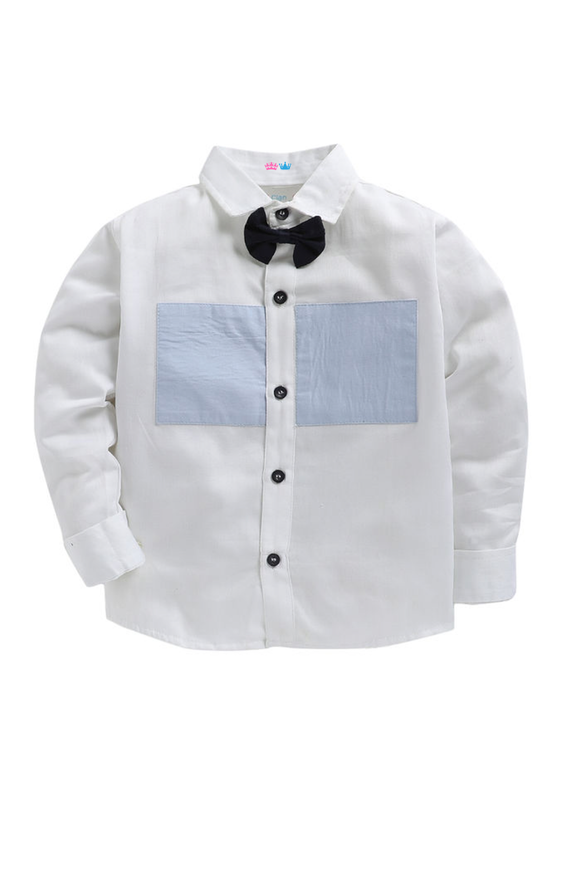 White shirt with navy blue bow