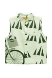 Band Neck Cycle Printed Nehru Jacket