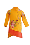 Yellow Printed Kurta with Off White Churidar