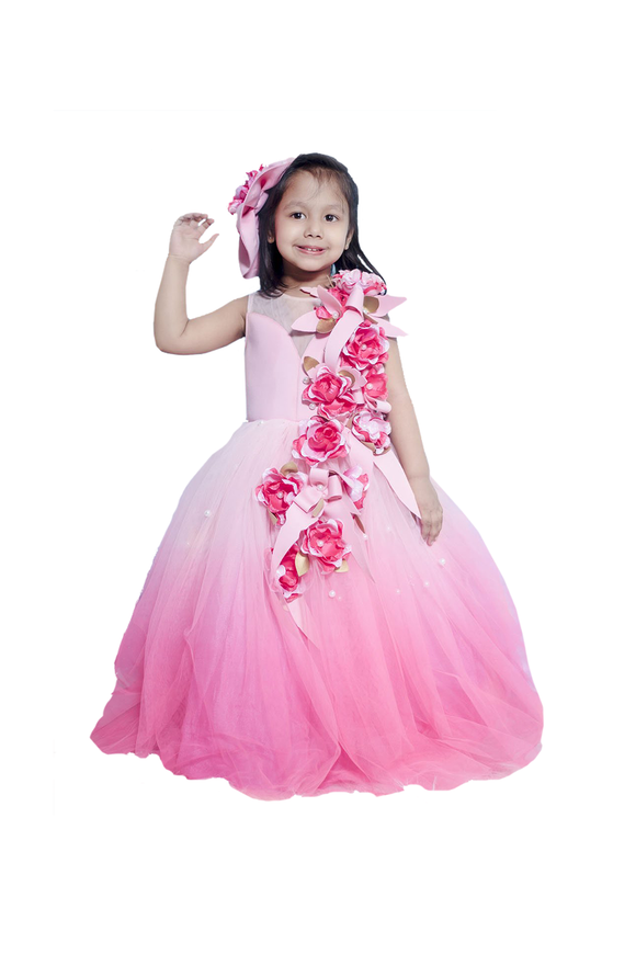 Pink Shaded Flower Gown