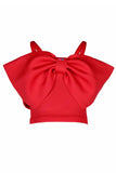 Red Big Bow Off Shoulder Crop Top