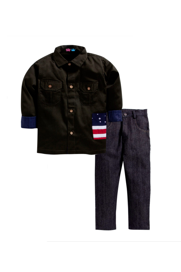 Olive green shirt with denim pants set