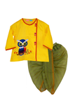 Yellow Owl Angarkha With Green Chanderi Dhoti
