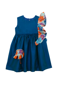 Blue umbrella dress with ruffled detailing