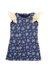 Blue organic cotton dress with flutter sleeves