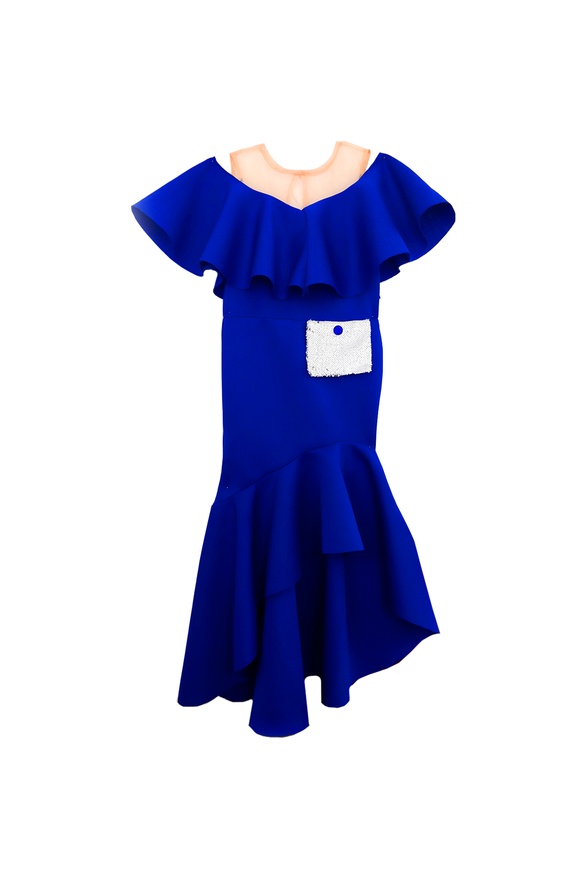 Royal blue gown with reversible sequin bun bag