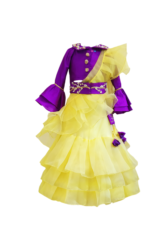 Yellow Frill Saree with Purple Bell Sleeve Top