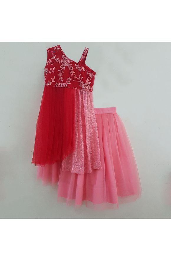 Red embroidered drape choli with pink lehenga