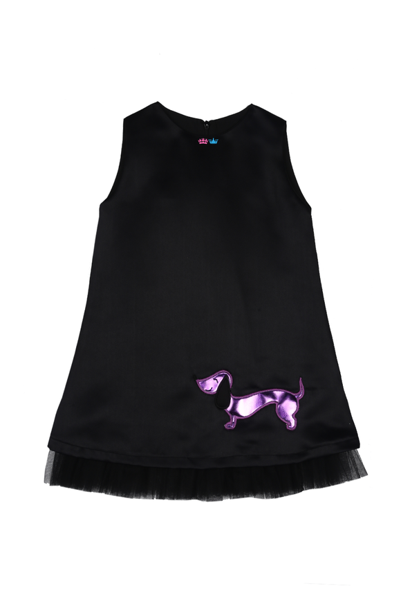 Black A-line dress with handcrafted wiener dog in purple leather