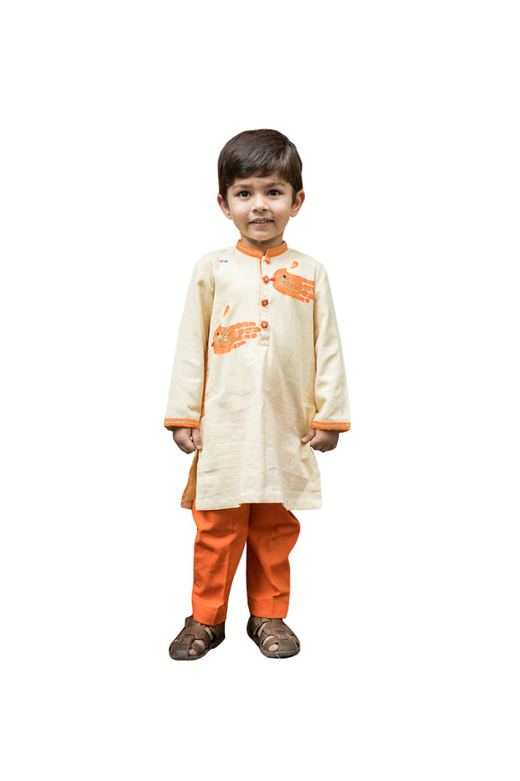 Beige kurta with two hand print motifs with pant