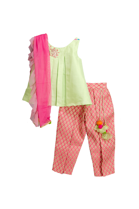 Lime green kurta and pink brocade pant