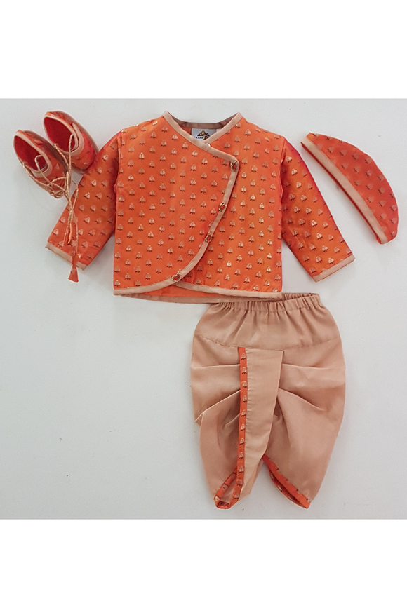 Orange and beige printed silk jamna set