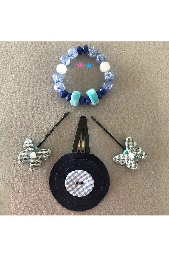 Denim combo of hair clips and bracelet