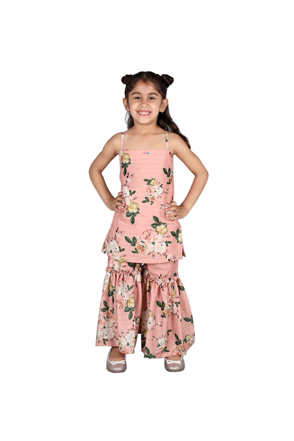 Peach floral print sharara set