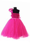 Dark and light pink frilled gown