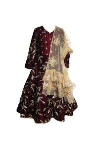 Wine color velvet anarkali set